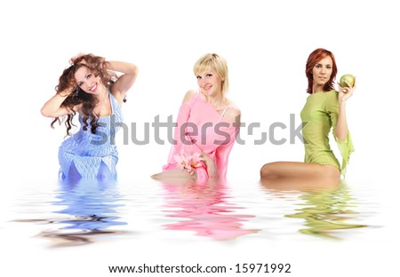 three young colorful girls - stock photo