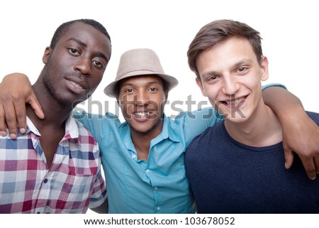 Three young friends happy - isolated over pure white background. - stock photo