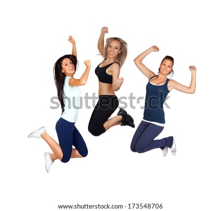 Three young girls jumping isolated on a white background