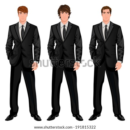 Three young handsome businessmen in formal suits with different brown hairstyles  illustration - stock photo