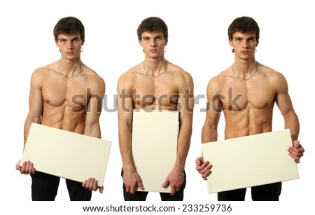 Three young sexy man holding copy space blank signs isolated on white - stock photo