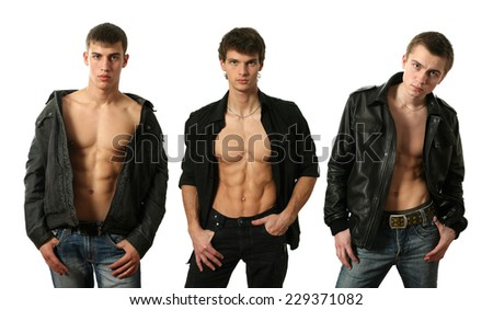 Three young sexy men in undone jackets showing muscular abs isolated on white - stock photo