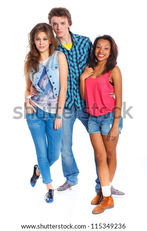 Three young teenagers laughing. Isolated on white background. - stock photo