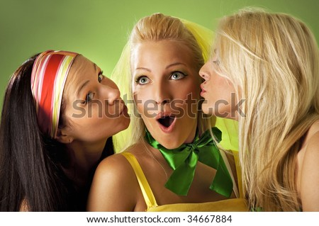 Three young woman close-up portrait
