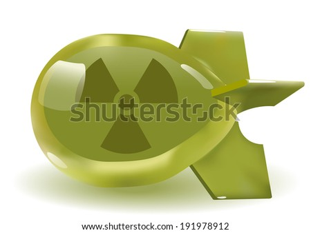 threedimensional green glass atomic bomb. - stock photo