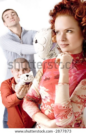 threesome date - stock photo
