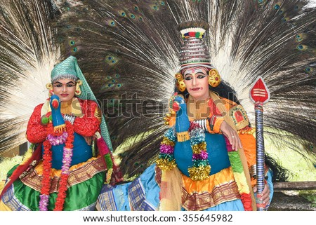 THRISSUR, INDIA - SEPT 09: Men dressed up as Kartikeya/ Murugan/ Skanda/ Kumaran/ Kumara Swami/ Subramaniya,the Hindu god of war, at Swaraj round on  September 09, 2015 in Thrissur, Kerala,India.