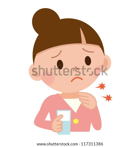 Throat pain concept. Young woman with touching her throat. - stock photo