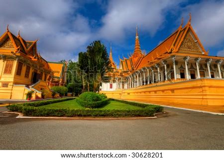 Throne Hall in Royal Palace - Phnom Penh - Cambodia - stock photo