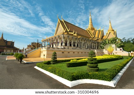 Throne Hall in the Royal Palace Compound, Phnom Penh, Cambodia - stock photo