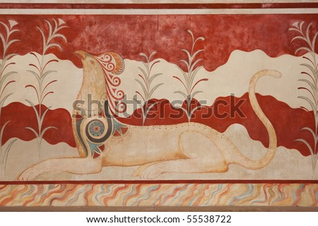 Throne Room at Knossos Archeological Site in Crete, Greece - stock photo