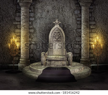 Throne Room Palace Background - stock photo