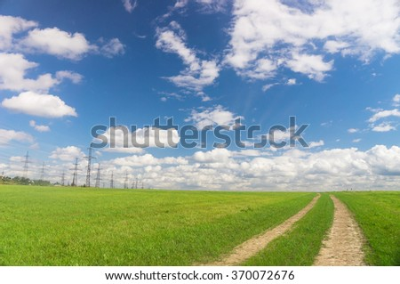 Through the Green Fields of Sunlight  - stock photo