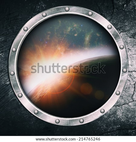 Through the illuminator, abstract science and travel backgrounds - stock photo