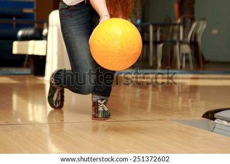 throw the ball in bowling - stock photo