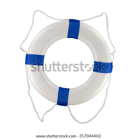 Throwable life saver buoy isolated on a white background for use on a boat or at a pool. - stock photo