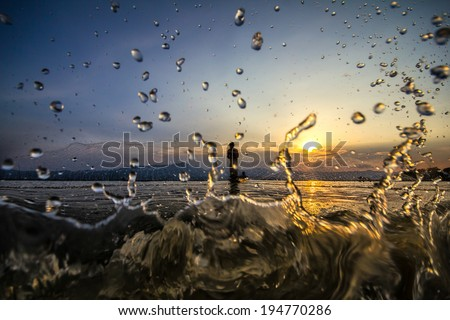throwing fishing silhouette - stock photo