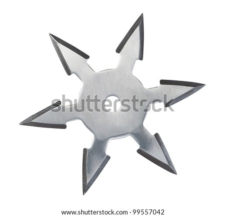 Throwing star ninja Shuriken isolated on white background. - stock photo
