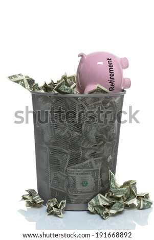 Throwing your retirement away - stock photo