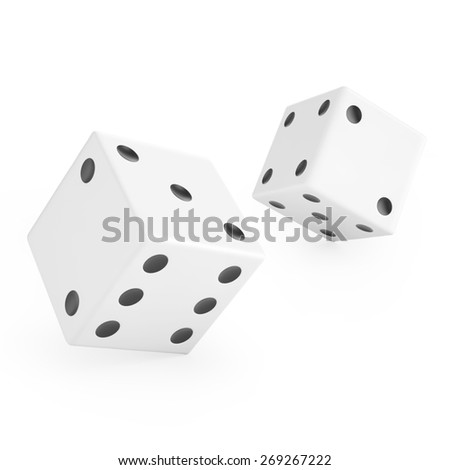 Thrown dice isolated on white background. 3d illustration