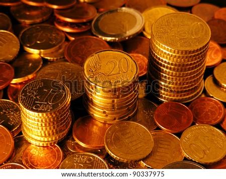 Thrre columns of Euro Coins. Finance concept. - stock photo