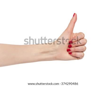 Thumb demonstrates OK isolated on white background. - stock photo