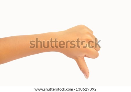 Thumb down boy hand sign isolated on a white background - stock photo