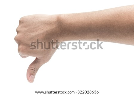 thumb down hand signs isolated on white - stock photo