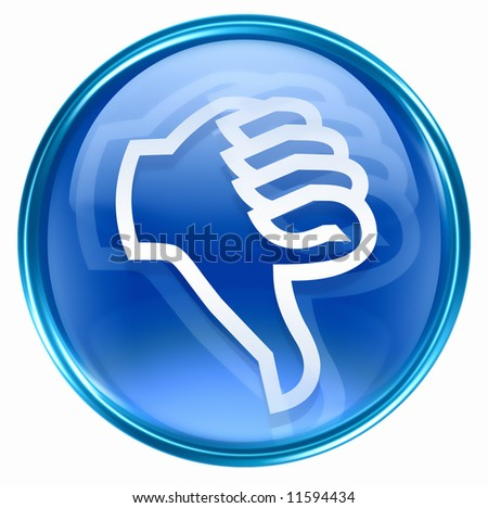 thumb down icon blue, isolated on white background. - stock photo
