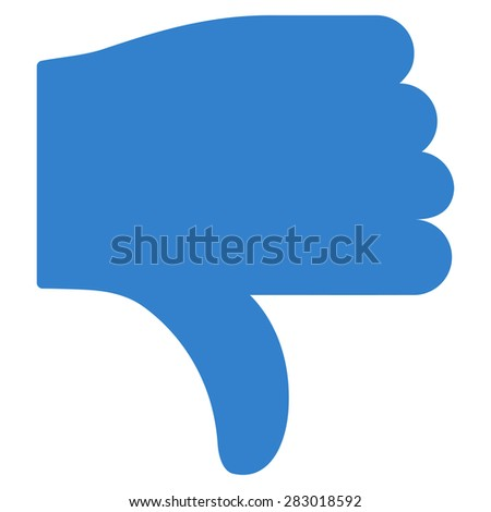 Thumb down icon from Basic Plain Icon Set. Style: flat symbol icon, cobalt color, rounded angles, white background. - stock photo