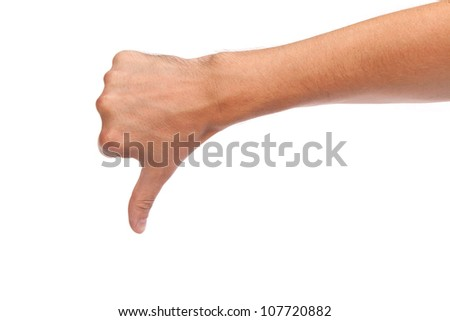 Thumb down male hand sign isolated on a white background - stock photo