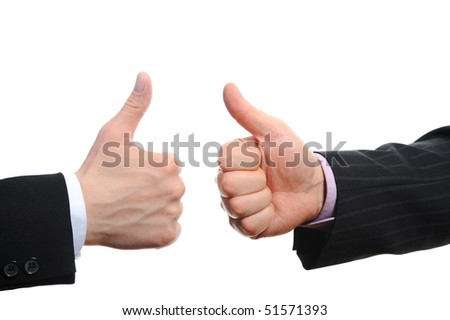 Thumb's up by a businessman. Isolated on white background