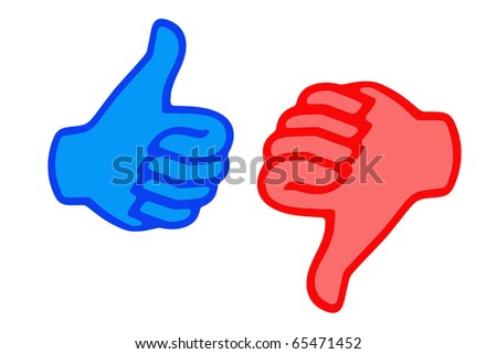 Thumb up and down, business background and concept - stock photo