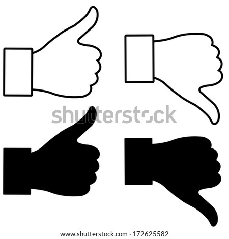 thumb up and down gesture - stock photo