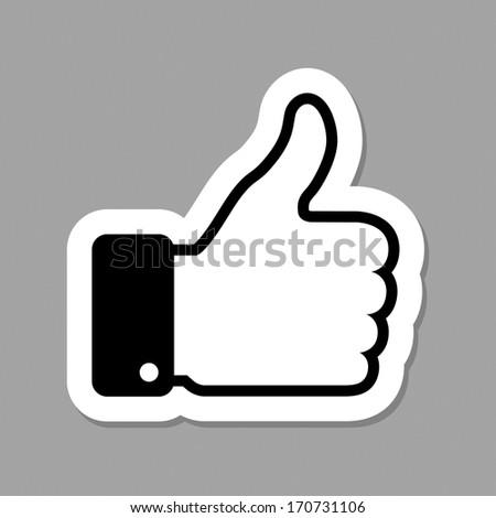 thumb up applique, raster illustration  - stock photo