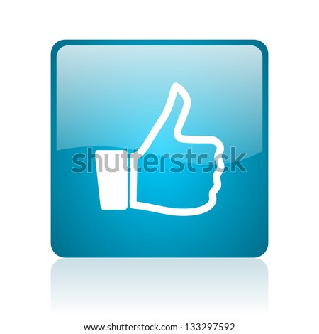 thumb up blue square web glossy icon
