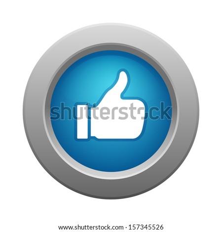 thumb up button, raster illustration  - stock photo