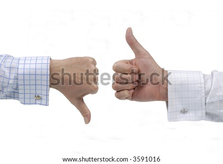 Thumb up, down, disagreement - stock photo