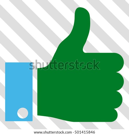 Thumb Up glyph icon. Image style is a flat blue and green pictogram symbol on a hatched diagonal transparent background.