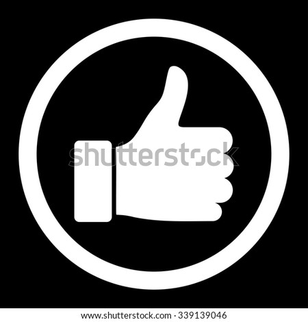 Thumb Up glyph icon. Style is flat rounded symbol, white color, rounded angles, black background.