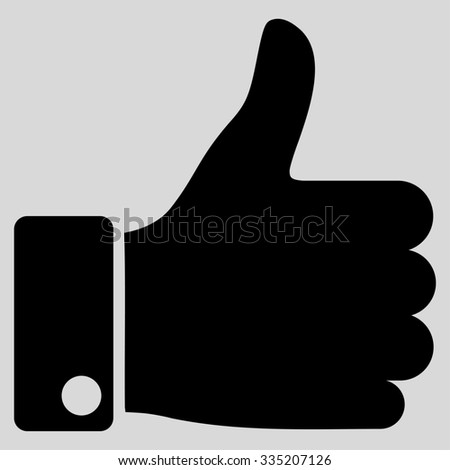 Thumb Up glyph icon. Style is flat symbol, black color, rounded angles, light gray background. - stock photo