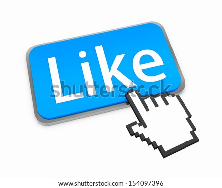 thumb up good social media share 3d symbol icon Hand Shaped mouse Cursor button illustration keyboard - stock photo