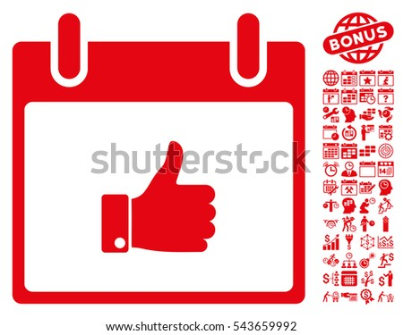 Thumb Up Hand Calendar Day icon with bonus calendar and time management pictograms. Glyph illustration style is flat iconic symbols, red, white background.