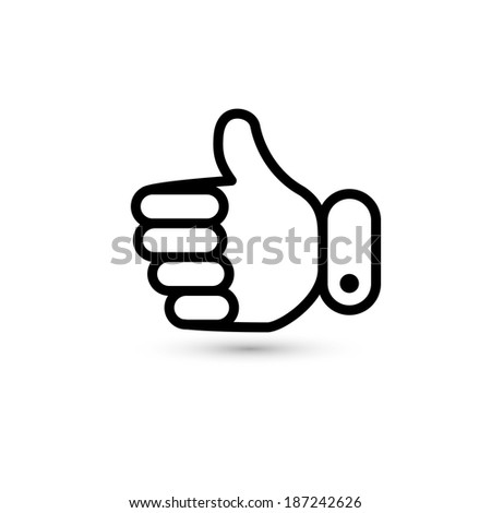 thumb up. hand icon. (rasterized version) - stock photo