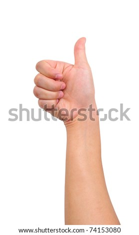 Thumb up hand sign isolated on white
