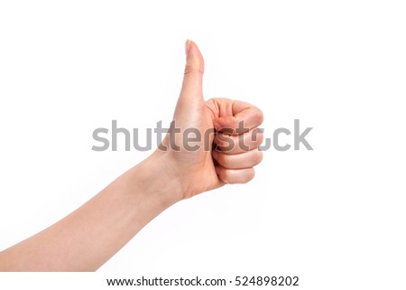 thumb up hand sign. woman hand showing thumb up, like, good, approval, acceptance, okay, ok, positive hand gesture