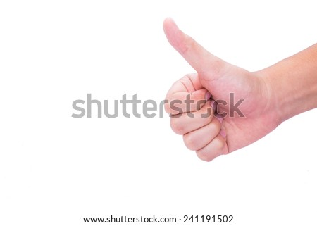 Thumb up in isolated background. - stock photo
