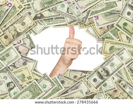 Thumb up inside the frame made of US Dollars Bills. All nominal bills both sides. Front and reverse.
