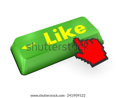 Thumb Up Like Button key - Stock Image  like,social media - stock photo