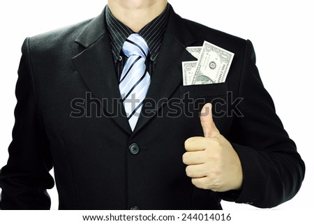 Thumb up of businessman and money in suit pocket. Isolated on white background and Copy Space. - stock photo